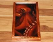 "8x16"" Original Oil Painting - Orange Evil Octopus Tentacles Cthulu Dark Art - Underwater Seacreature Oceanlife Wall Art"
