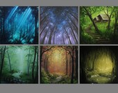 "4x4"" Magnet Forest Enchanted Trees Dark Woods Fantasy Art Print Refrigerator Thin Flat Square Magnet Stocking Stuffers"
