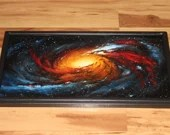 """12x24"""" Original Oil Painting - Messier 106 Galaxy Nebula Outer Space Deep Space Astronomy Stars Starry Wall Art"""