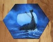 "5-6"" Original Mini Oil Painting Hexagon Flat Panel - Blue Cloudy Night Viking Longboat Ship Boat Ocean Seascape - Small Canvas Wall Art"