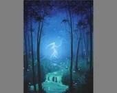 "Art PRINT - Enchanted Dark Forest Spirit Ghost Girl Will o the Wisp - Fantasy Landscape Wall Art - Choose Size 4x6"" 5x7"" 8x10"" 12x16"" PRINTS"