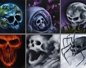 "4x4"" Magnet Skull Skeleton Fantasy Skull Art Print Refrigerator Thin Flat Square Magnet Stocking Stuffers"