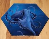 "5-6"" Original Mini Oil Painting Hexagon Flat Panel - Purple Blue Octopus Cephalopod Tentacles Sea Ocean Underwater - Small Canvas Wall Art"