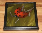 """10x10"""" Original Oil Painting - Ladybug Fairy Faerie Fae Pixie in Forest - Wall Art"""