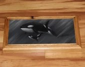 """6x12"""" Original Oil Painting - Black White Gray Killer Whales Orcas Baby and Mom Whale - Underwater Seacreature Oceanlife Wall Art"""