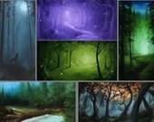 "2x4"" Magnet Forest Enchanted Trees Dark Woods Fantasy Art Print Refrigerator Thin Flat Rectangular Magnet Stocking Stuffers"