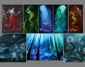 "2x4-4x4"" Magnet Mermaid Siren Octopus Sea Ocean Oceanlife Underwater Fantasy Art Print Refrigerator Square Magnet Stocking Stuffers"