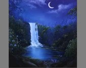 "Art PRINT - Dark Blue Purple Enchanted Forest Waterfall Night Crescent Moon - Landscape Wall Art - Choose Size 8x8"", 10x10"" 12x12"" PRINTS"