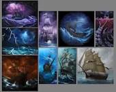 "2x4-4x4"" Magnet Ship Ships Boats Sailing Fantasy Viking Longboat Ship of Sail Stormy Ocean Art Print Refrigerator Magnet Stocking Stuffers"