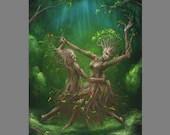 "Art PRINT - Enchanted Dark Forest Spirits Dryads Dancing Trees -  Fantasy Landscape Wall Art - Choose Size 4x6"" 5x7"" 8x10"" 12x16"" PRINTS"