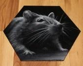"5-6"" Original Mini Oil Painting Hexagon Flat Panel - Black White Rat Rodent Mouse Animals Animal  - Small Canvas Wall Art"