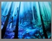 "Art PRINT - Mermaid Castle Enchanted Underwater Ocean Dark Blue Green Purple - Fantasy Wall Art - Choose Size 4x6"" 5x7"" 8x10"" 12x16"" PRINTS"