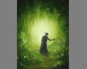 """Art PRINT - Plague Doctor Searching for Cure Enchanted Dark Forest - Fantasy Landscape Wall Art - Choose Size 4x6"""" 5x7"""" 8x10"""" 12x16"""" PRINTS"""