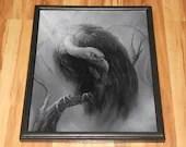 "16x20"" Original Oil Painting - Vulture Bird of Prey Black White Gray Gothic Dark Art Birds Ornithology - Animal Wall Art"