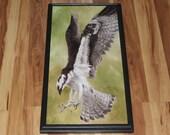 "12x24"" Original Oil Painting - Osprey Sea Hawk Bird of Prey Flying Birds Ornithology - Animal Wall Art"
