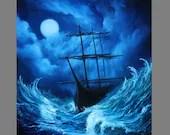 "Art PRINT - Blue Green Moonlit Night Full Moon Ship Sailing Ocean - Seascape Wall Art - Choose Size 8x8"", 10x10"" 12x12"" PRINTS"