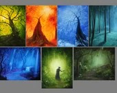 "3x4"" Magnet Forest Enchanted Trees Dark Woods Fantasy Art Print Refrigerator Thin Flat Square Magnet Stocking Stuffers"