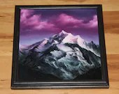 """12x12"""" Original Oil Painting - Pinnacle Pink Purple Cloudy Mountain Landscape - Canvas Painting Wall Art"""