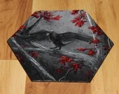 "5-6"" Original Mini Oil Painting Hexagon Flat Panel - Black White Red Crow Raven Forest Bird Animals Animal  - Small Canvas Wall Art"