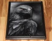"12x16"" Original Oil Painting - Hawk Glare Bird of Prey Black and White Dark Gothic Art Ornithology Birds - Forest Landscape Animal Wall Art"