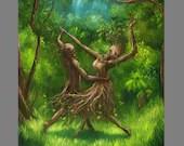 "Art PRINT - Dance of the Dryads Dryad Fairy Dark Forest  Fantasy Wall Art - Choose Size 8x8"", 10x10"" 12x12"" PRINTS"