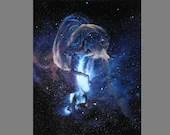 "Art PRINT - Blue Statue of Liberty Ibex Nebula Stars - Outer Space Galaxy Astronomy Wall Art - Choose Size 4x6"" 5x7"" 8x10"" 12x16"" PRINTS"