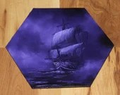 "5-6"" Original Mini Oil Painting Hexagon Flat Panel - Violet Purple Night Ship of Sail Sailing Boat Ocean Seascape - Small Canvas Wall Art"
