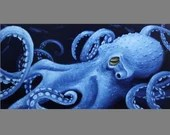 "Art PRINT - Blue Octopus Cephalopod Animal Tentacles Cthulu Lovecraftian - Choose Size 5x10"", 6x12"" 8x16"" PRINT Seascape Animal Wall Art"