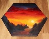 "5-6"" Original Mini Oil Painting Hexagon Flat Panel - Sunset Mountains River Red Orange Yellow Purple Cloudy Sky  - Small Canvas Wall Art"