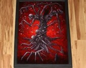 """20x30"""" Original Oil Painting - Giant Skeleton Tree Monster Horror Macabre Dark Haunted Forest Black Red - Giant Large Wall Art"""