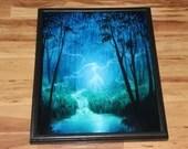 "16x20"" Original Oil Painting - Blue Green Enchanted Forest Ghost Spirit Woman Girl Moonlit Night Dark Art - Fantasy Landscape Wall Art"