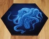 "5-6"" Original Mini Oil Painting Hexagon Flat Panel - Blue Octopus Cephalopod Tentacles Seacreature Ocean Underwater - Small Canvas Wall Art"