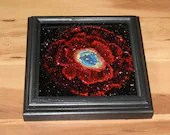 """6x6"""" Mini Original Oil Painting - Ring Nebula Stars Starry Galaxy Mini Painting - Outer Space Deep Space Wall Art Office Gift"""