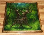 """30x30"""" Original Oil Painting - Dance of the Dryads Dancing Forest Tree Spirit Landscape Fantasy Art - Giant Large Wall Art"""