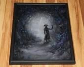 "16x20"" Original Oil Painting - Plague Doctor Enchanted Foggy Forest Flowers Blue Purple Black White Dark Art - Fantasy Landscape Wall Art"