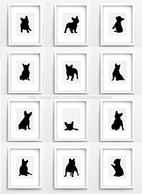 Bouledogue Français jeu de 12 chien Illustration dessin de