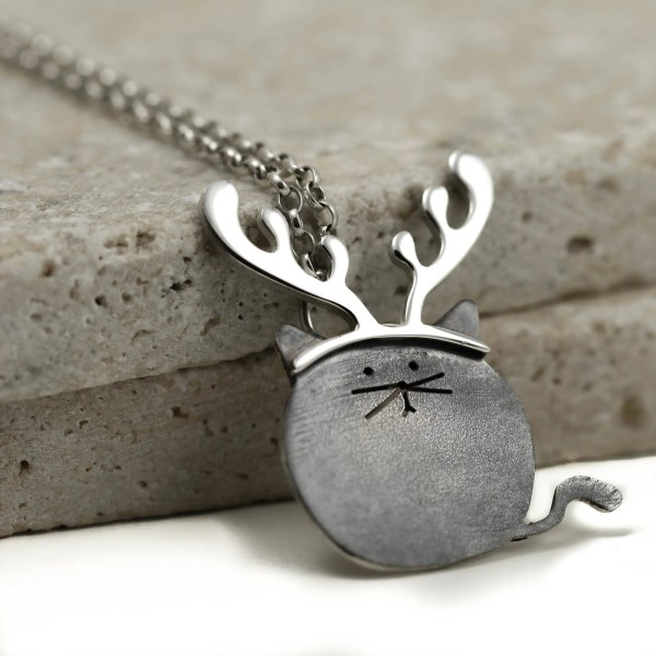 Reindeer Cat Necklace Christmas Sterling