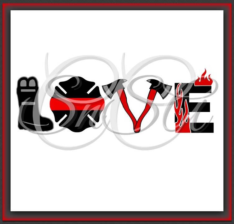 Download Firefighter SVG Love Badge Thin Red Line Logo Emblem EMS ...