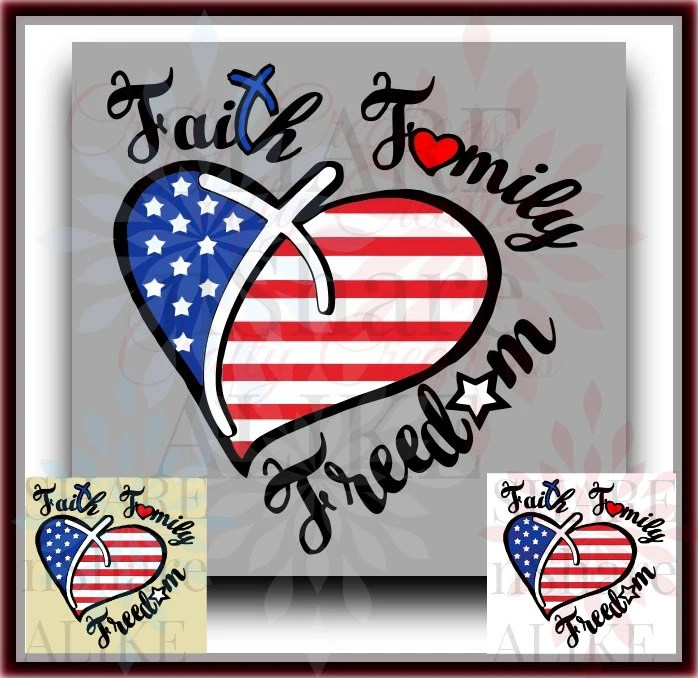 Download America SVG Flag Heart Faith Freedom Family July Land Free ...
