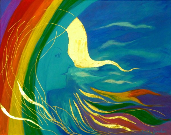 Breath Of Spring Angel Painting Rainbow Woman Art