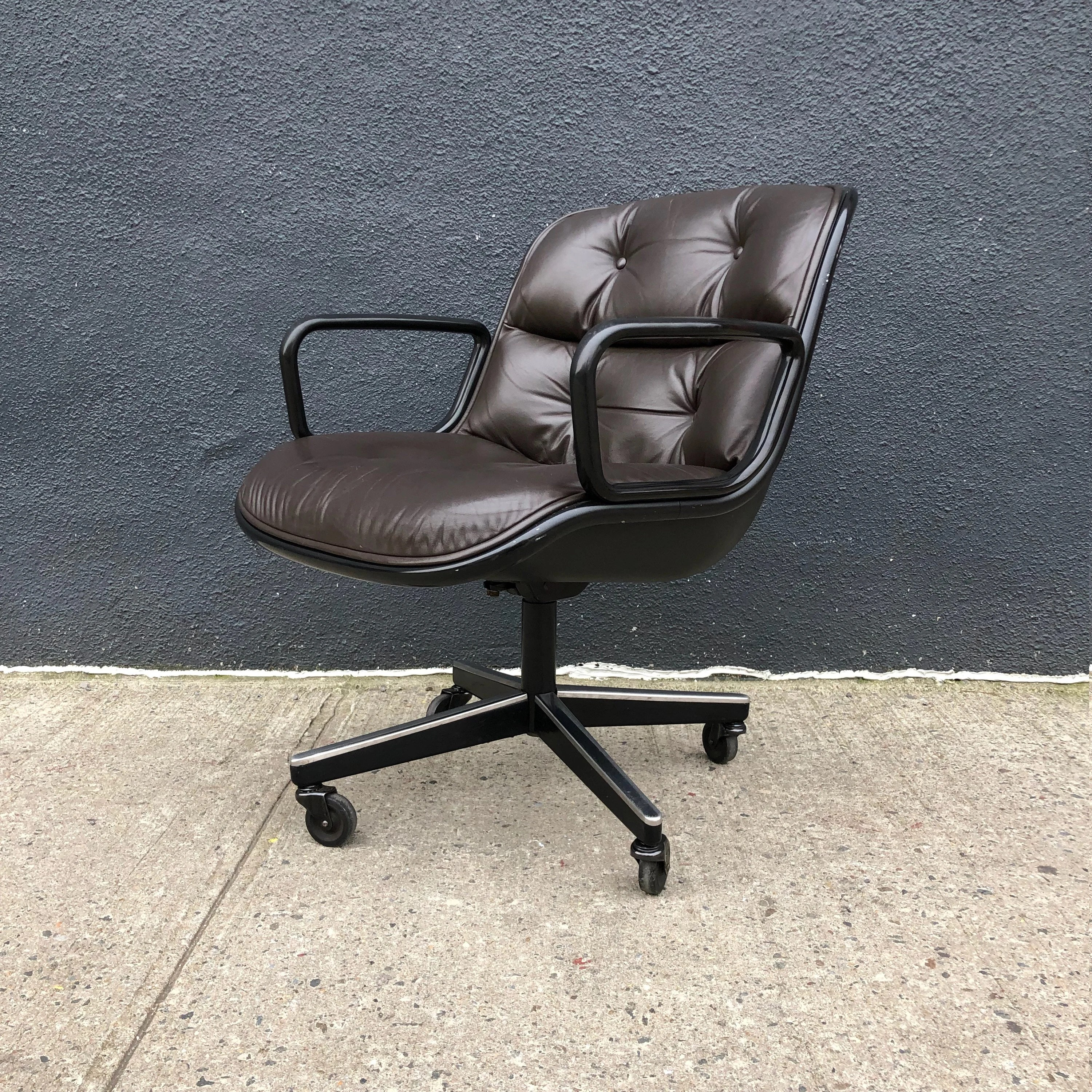 pollock executive chair replica hampton bay outdoor chairs etsy knoll in brown leather