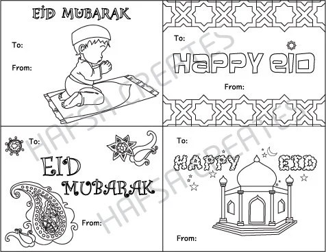 Happy Eid Mubarak Printable coloring cards Digital File