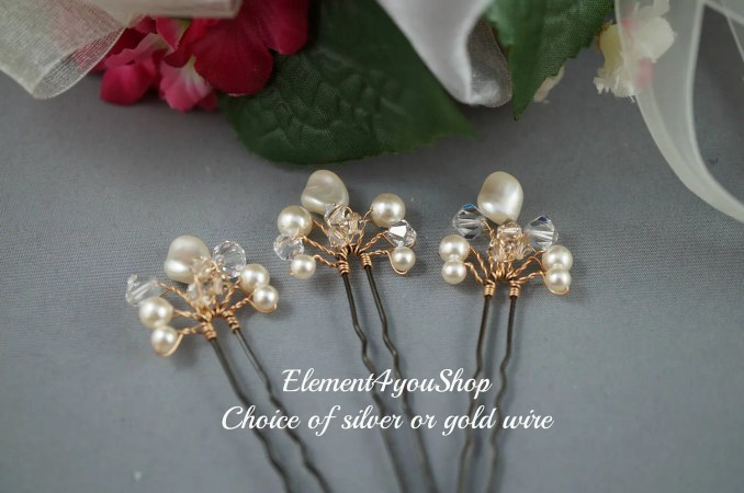 bridal hair pins, wedding hair accessories, champagne white ivory pearls crystals clips, bridesmaid hairdo, prom hairdo, set of 3 hair vines
