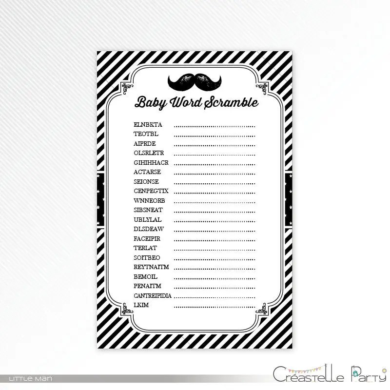Black little man word scramble, baby shower game printable