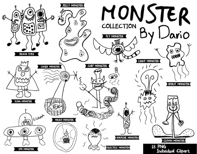 Doodles Monsters Characters drawing by kids sketch funny