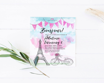 paris party invite etsy