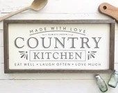 Country Kitchen Farmhouse Style Wood Sign