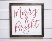 Merry & Bright Christmas Farmhouse Style Sign