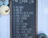 Fall Bucket List Chalkboard Sign