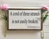 A Cord Of Three Strands Is Not Easily Broken wooden farmhouse style sign